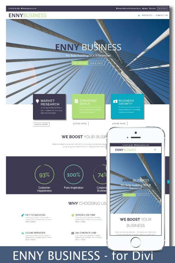 EnnyBusiness Divi Child Theme Design Preview