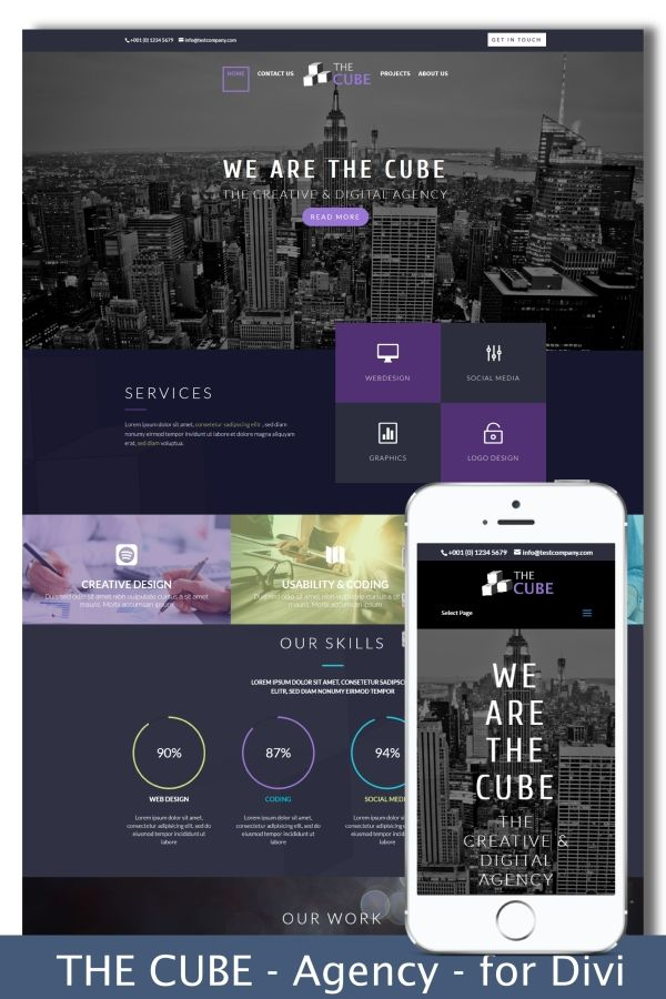 The Cube Divi Child Theme Design Preview