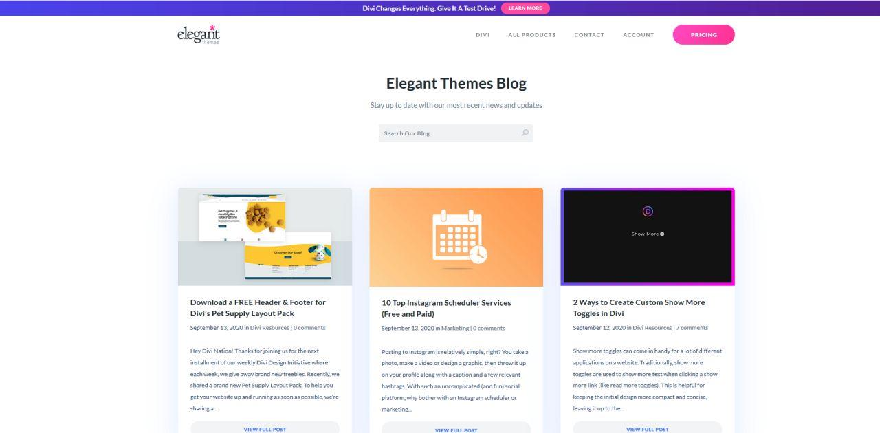 Blog Screenshot Elegant Themes