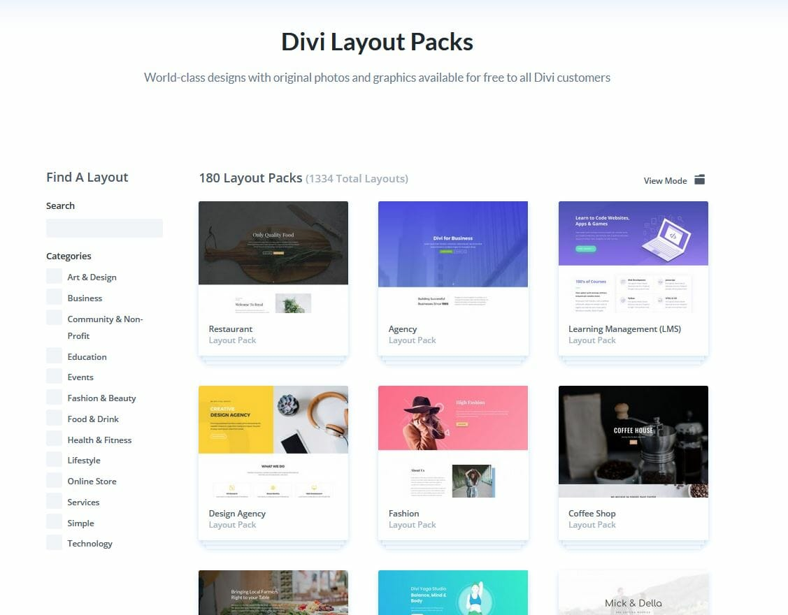 Divi Themes Overview of all Divi Layouts