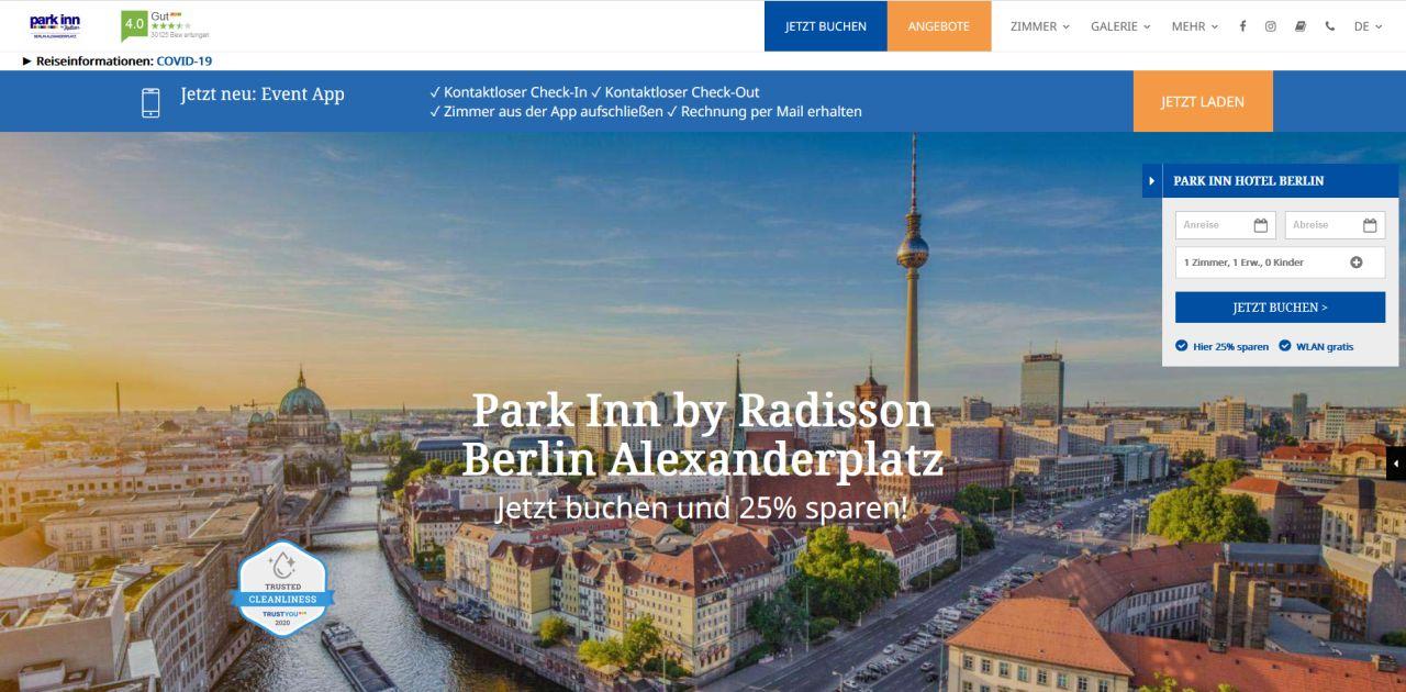 Website Park Inn Berlin Design Preview