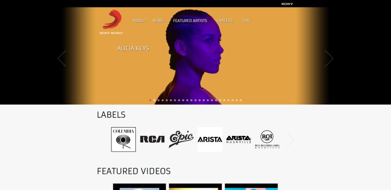 WordPress Website Sony Music